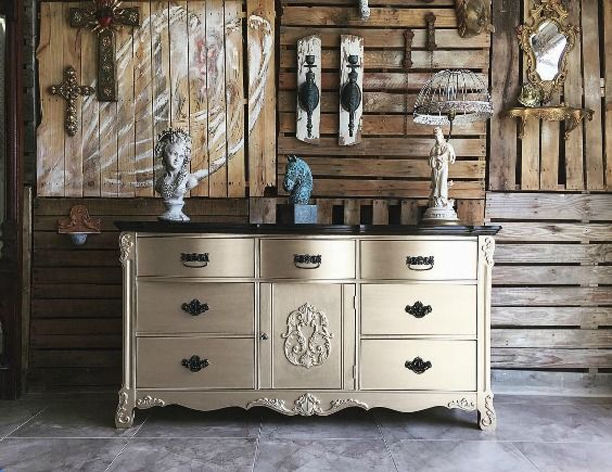 Beautiful painted buffet with Champagne Metallic Paint by Modern Masters. The gorgeous project is by Gray Gardens Design.
