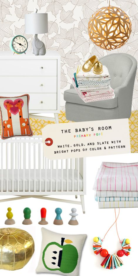 Now that we know we're having a girl, it's fun to be able to really start planning the major things we need to buy for her. The first fun part...the baby's room! Despite my girlie demeanor, I actually am not a very pink and purple kind of girl and instead, love the idea of keeping the room neutral with bright pops of color and of course, a little bit of metallic... — Joy