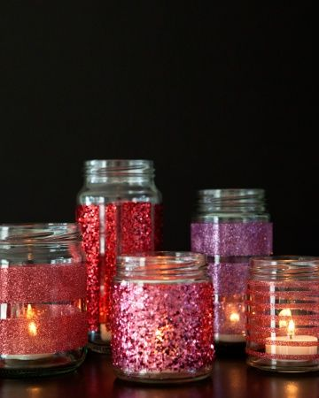 DIY Glittered Glass Jars for candle votives from Something Turquoise: #craft #recycle #repurpose glass