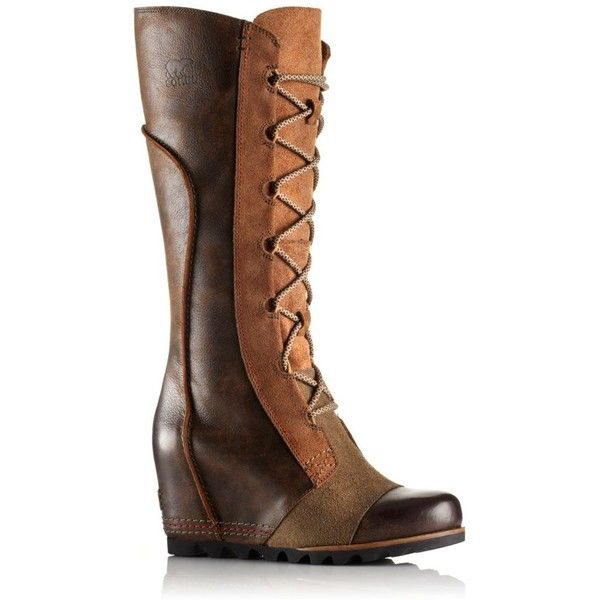 SOREL Women's Cate The Great Wedge Boot ($260) ❤ liked on Polyvore featuring shoes, boots, dark brown, sorel boots, sorel, wedge heel tall boots, knee-high waterproof boots and tall boots