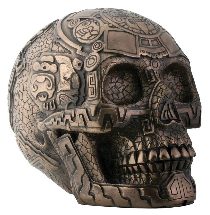 Bronze Aztec Skull Statue