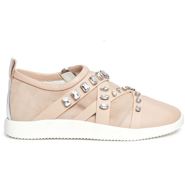 Giuseppe Zanotti Design Singleg' glass crystal strap suede sneakers (8.965.270 IDR) ❤ liked on Polyvore featuring shoes, sneakers, pink, embellished evening shoes, cocktail shoes, suede leather shoes, giuseppe zanotti shoes and suede shoes