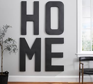 oversize hanging letter f hanging wall