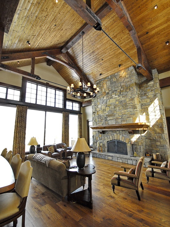 Light walls dark brown window trim and barn wood beams for Exposed beam vaulted ceiling