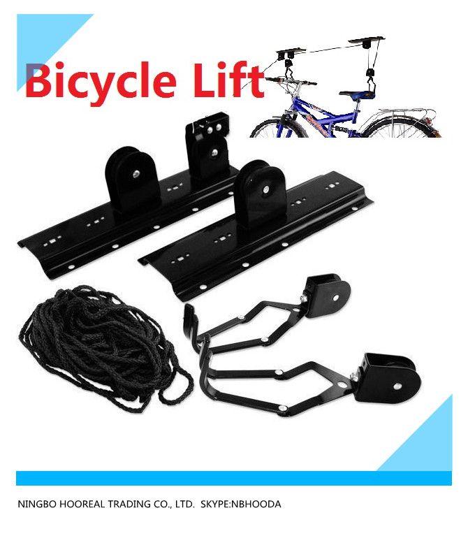 Bike Lift Hoist Garage Mountain Bicycle Hoists 100LB Capacity Garage Storage