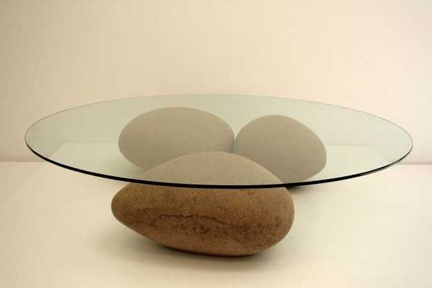 Furniture Furniture Design Glass Top Coffee Table Stones Big Large Shaped Three Stones Circle