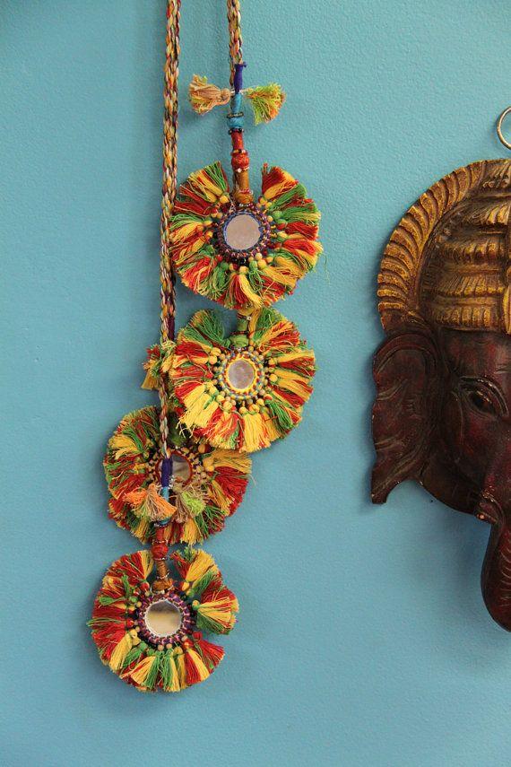 Camel Swag (Medium) / Green, Red, Yellow Mirrored Camel Pom Pom, Tassel, Decoration / Boho, Gypsy Fashion Design, Decorating Supplies