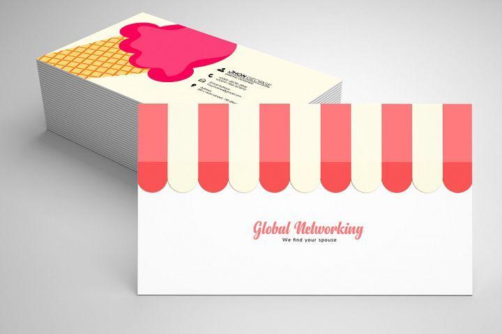 Ice Cream Business Card 05 119646 Business Cards Design Bundles Business Cards Creative Templates Business Card Template Business Card Template Design