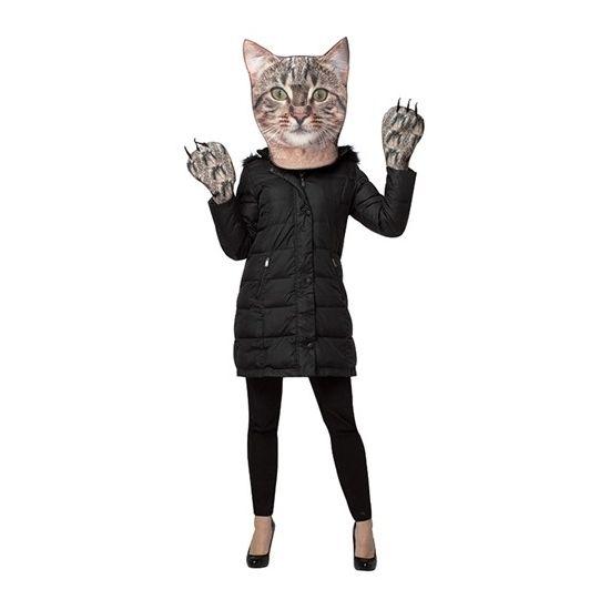 Cyperse kat verkleedset voor volwassenen. De set bestaat uit een foam masker met kijkgat op de neus en foam wanten. De set heeft een fotoprint van een Cyperse kat. Materiaal: 100% polyester foam.