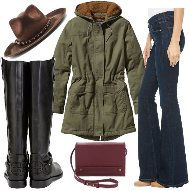Hat // Ale by Alessandra Roxy Dene Hat Parka // Patagonia Parka Flares // FRAME Le High Flare Jeans Boots // Tory Burch Derby Riding Boot Bag // Madewell Crossbody Bag