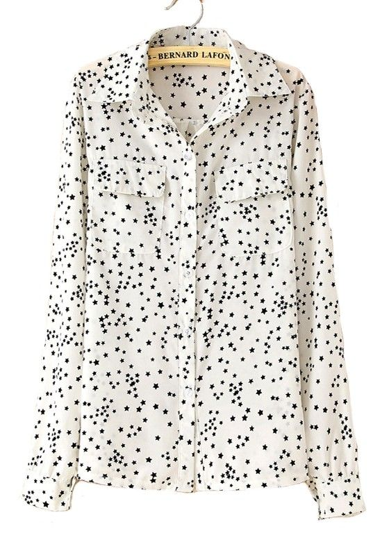 White Stars Print Long Sleeve Cotton Blend Blouse
