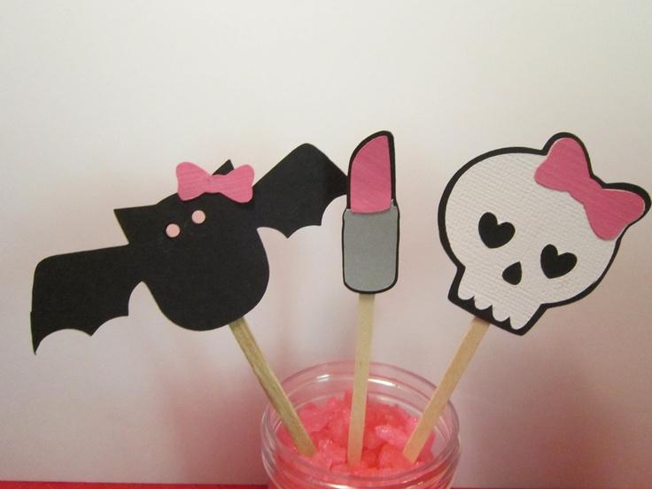 Girl Skull Bat Lipstick Cupcake Toppers. $8.00, via Etsy.