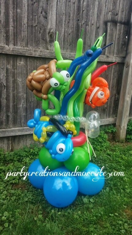219 best balloons images on pinterest balloon animals for Nemo decorations