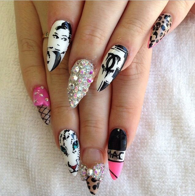 Like the mac, ice cream cone, & Chanel nail designs! - 13 Best Nails Images On Pinterest Nail Design, Nail Scissors And