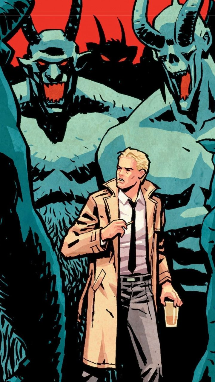 John Constantine And Monsters Dc Comics 720x1280 Wallpaper With