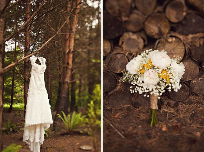 love a rustic wedding and love shots of the wedding dress hanging in the woods.