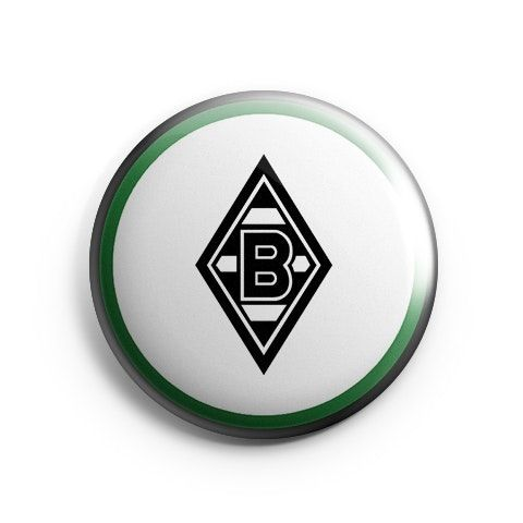 Borussia M'Gladbach Logo Home by Hat-Trick Stickers Pinback button or magnet 38mm.Borussia M?nchengladbach Logo HomeColor: White/Black/GreenSize: 38mmWeight: 5g