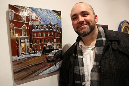 """Sean Carney earned a Purchase Award from the Mercer County Cultural and Heritage Commission for """"First Snow,"""" a scene from Portland, Maine."""