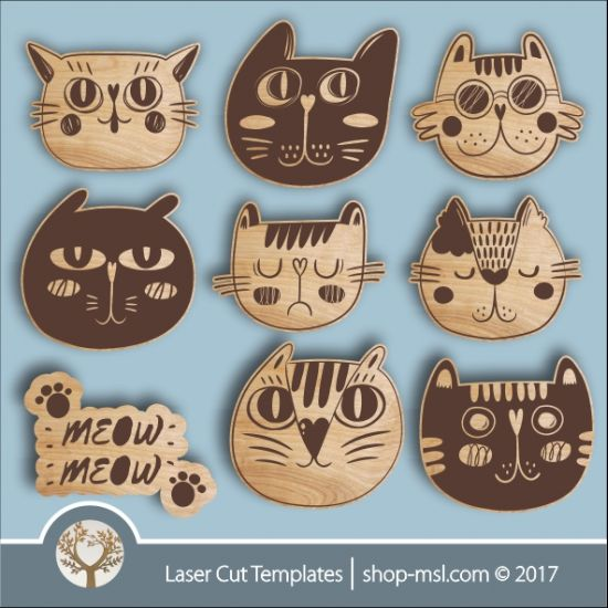 funny cute cat templates online laser cut design store download vector patterns