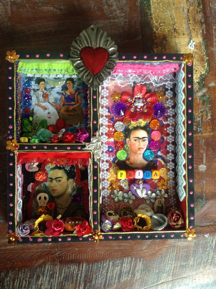 Frida Kahlo Mexican Shadow box shrine or altar by TheVirginRose