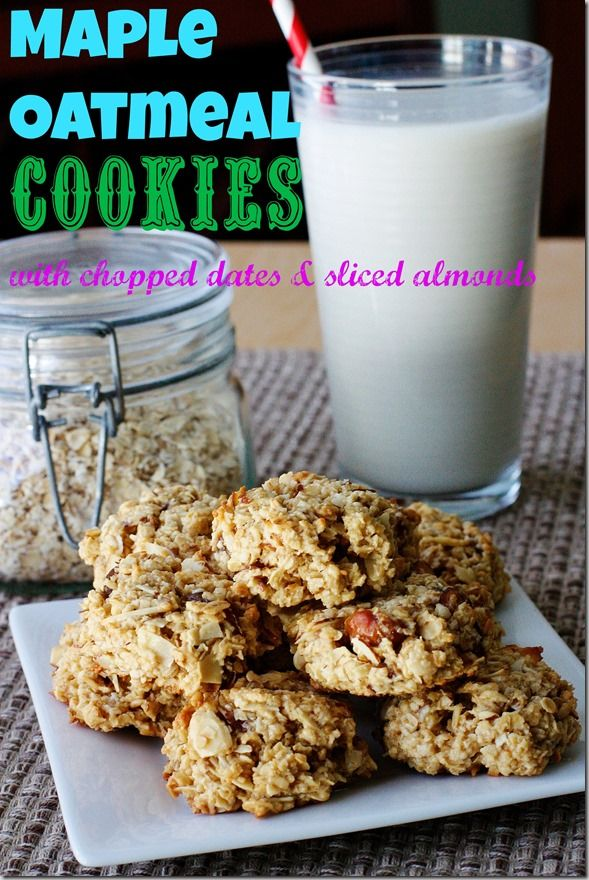 Maple Oatmeal Cookies with Chopped Dates and Sliced Almonds - Carrots ...