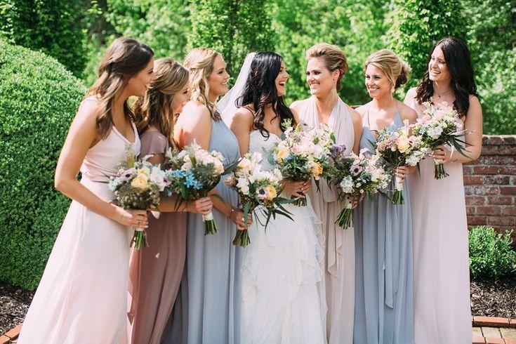 Romantic Mismatched Bridesmaids