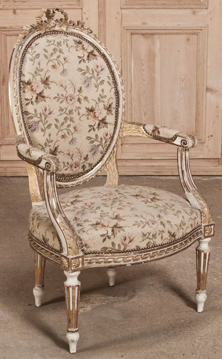Antique French Louis XVI Needlepoint Armchair | Antique Armchairs | Inessa Stewart's Antiques | www.inessa.com