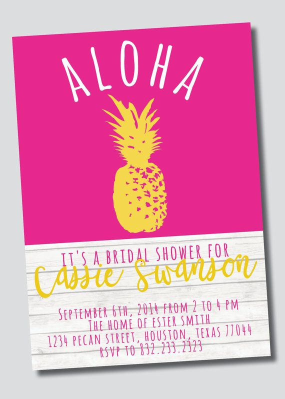 Anybody else in love with pineapples these days? Here's the newest listing in my shop! Hawaiian /// Luau /// Island Style Bridal by SweetGreetsDesigns, $15.00