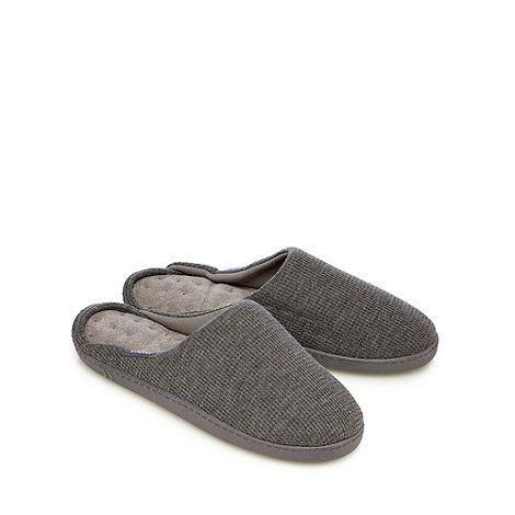 Totes Grey waffle textured mule slippers | Debenhams