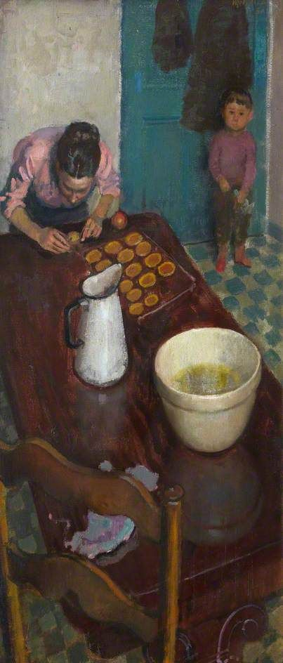 alberto morrocco(1917–98), baking cakes, 1950. oil on canvas, 82.6 x 41.9 cm. royal scottish academy of art & architecture, uk http://www.bbc.co.uk/arts/yourpaintings/paintings/baking-cakes-186291