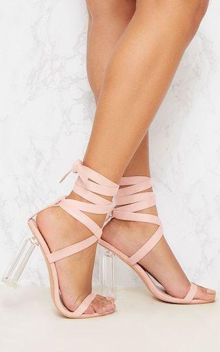 d00fecc54a9 Nude Leg Tie Clear Block Heel Sandals