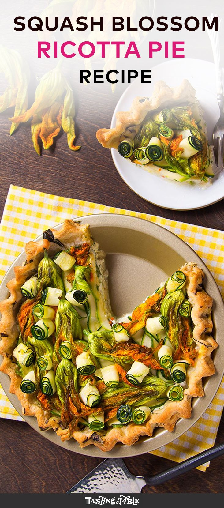 Savory pies can be beautiful, too; this one with squash and squash blossoms is a perfect example.