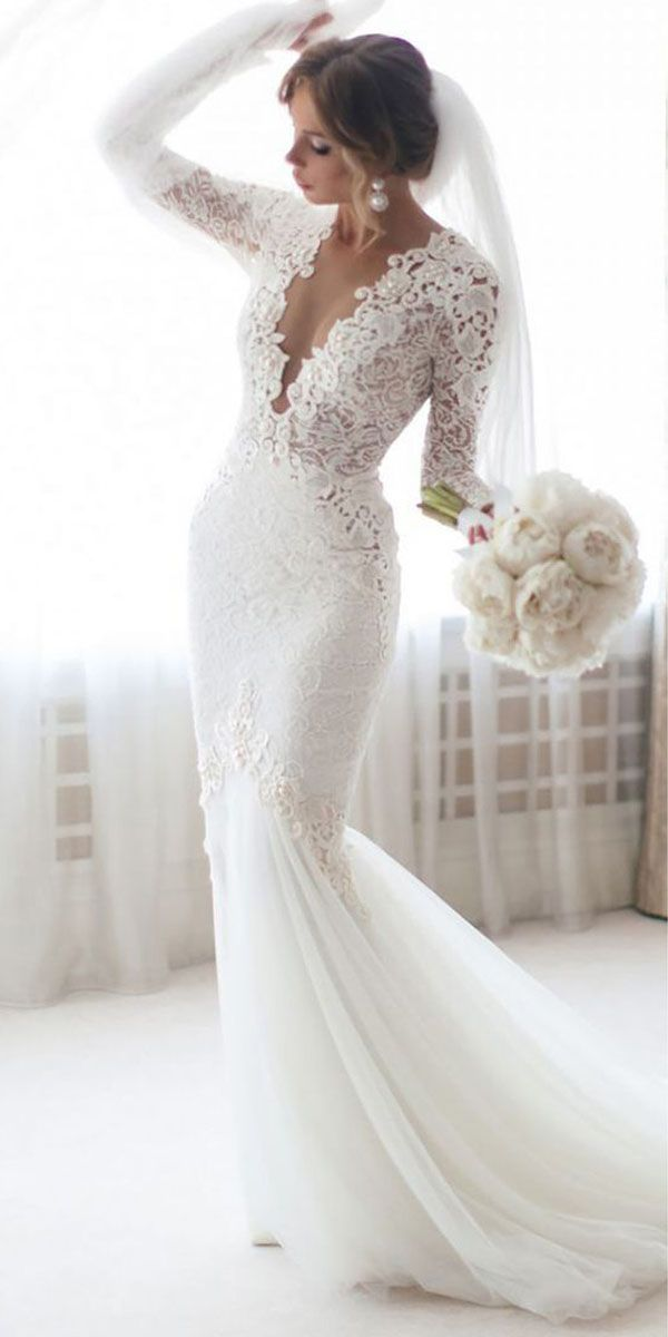 Charming Tulle & Lace Jewel Neckline Mermaid Wedding Dresses With Beaded Lace Appliques – Wedding dresses