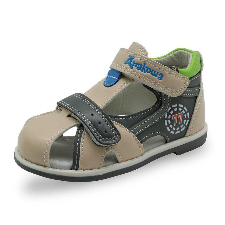 Apakowa Nouvelle enfants d'été chaussures crochet et boucle en boucle fermée bout garçons sandales orthopédiques sport pu en cuir bébé garçons sandales chaussures