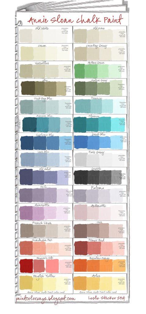 a a a a Annie Sloan Chalk Paint Swatch Book. Paint Colors+ Tints a To make shades of any color add black. Annie Sloan Chalk Paint® Colors + Shades. For morecolor swatch books seeAnnie Sloan ...