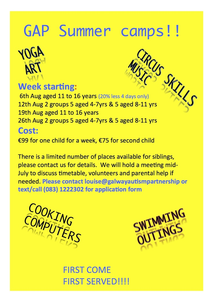 Summer camps August 2013 in #Galway for children affected by #autism run by www.galwayautismpartnership.com