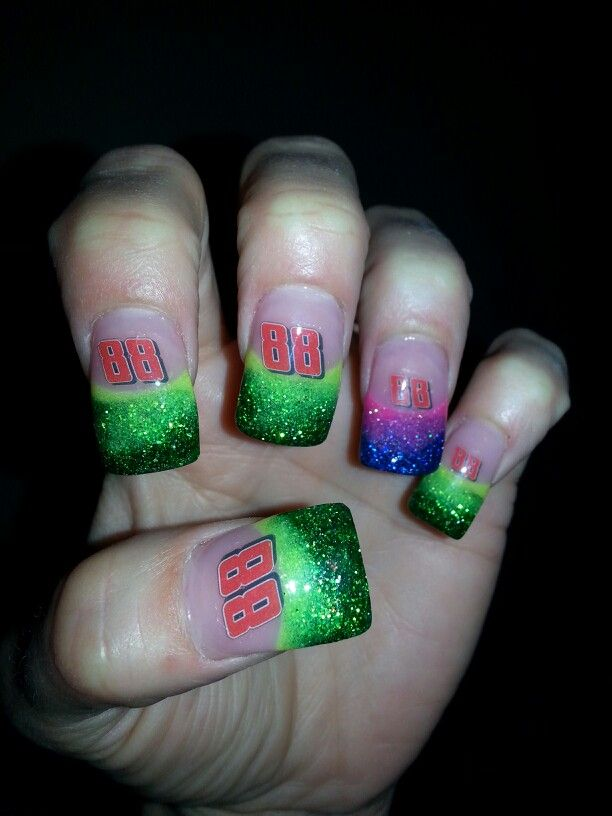 Nascar #88 Dale Jr I would do these all green. Why throw the purple and  pink in there? | Pretty Nails | Pinterest | Nails, Nascar nails and Nail Art - Nascar #88 Dale Jr I Would Do These All Green. Why Throw The Purple