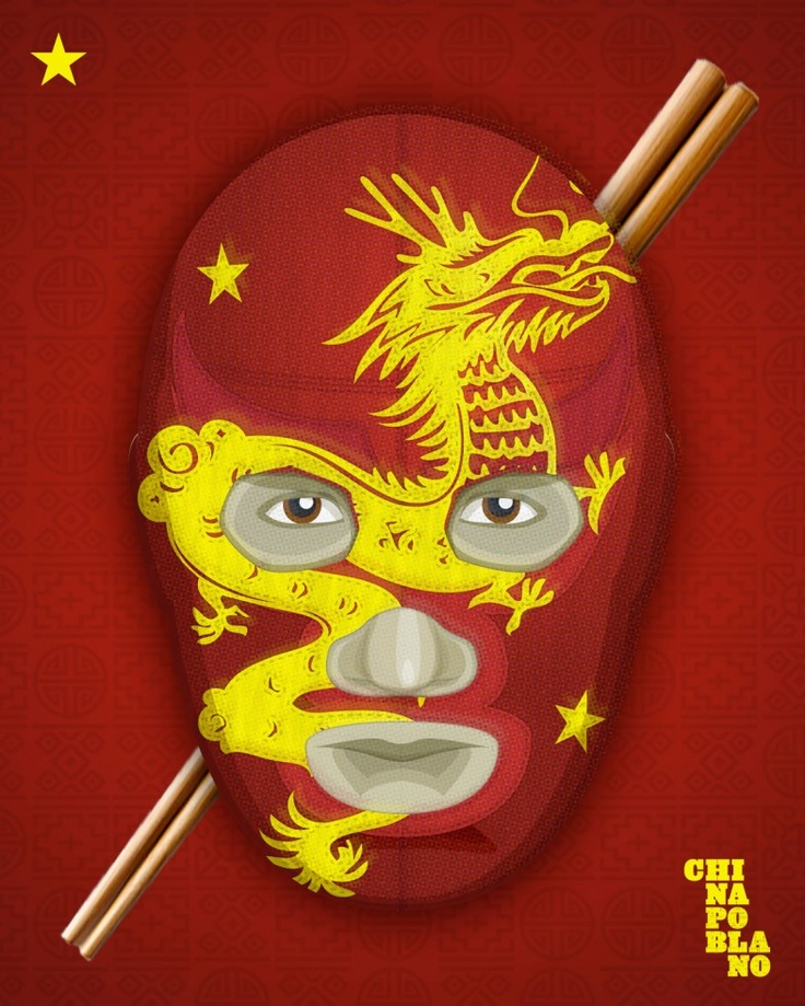 mexican luchador wrestler mask chinese new year at china poblano poster by paul wind