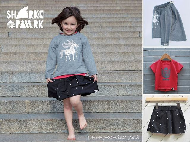 SHARK IN THE PARK sweatshirt, T-shirt and skirt for girls
