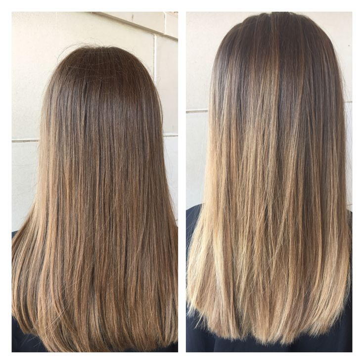 Balayage light brown and blonde. Medium length hair.