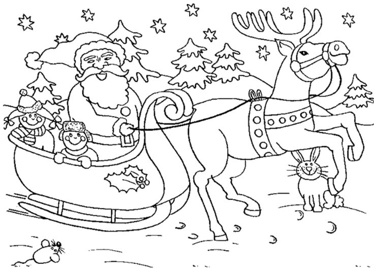 Santa Claus Set Out With Two Children In Christmas Coloring Pages