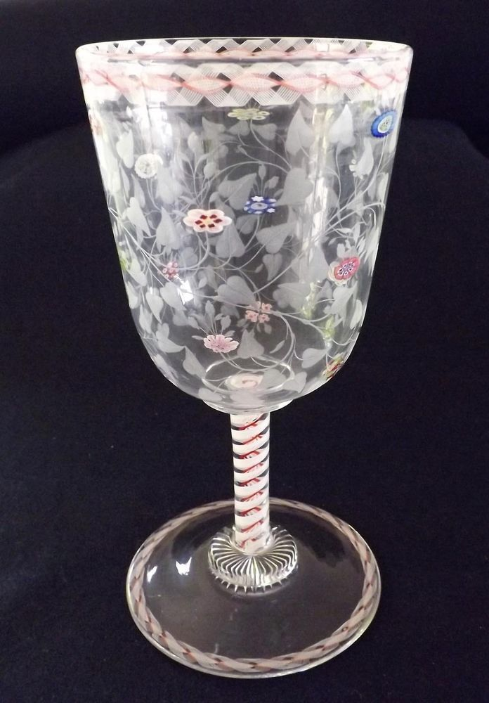 VINTAGE Cir 1900's MURANO ZANFIRICO WINE GOBLET WITH INSET MILLEFIORI DECORATION
