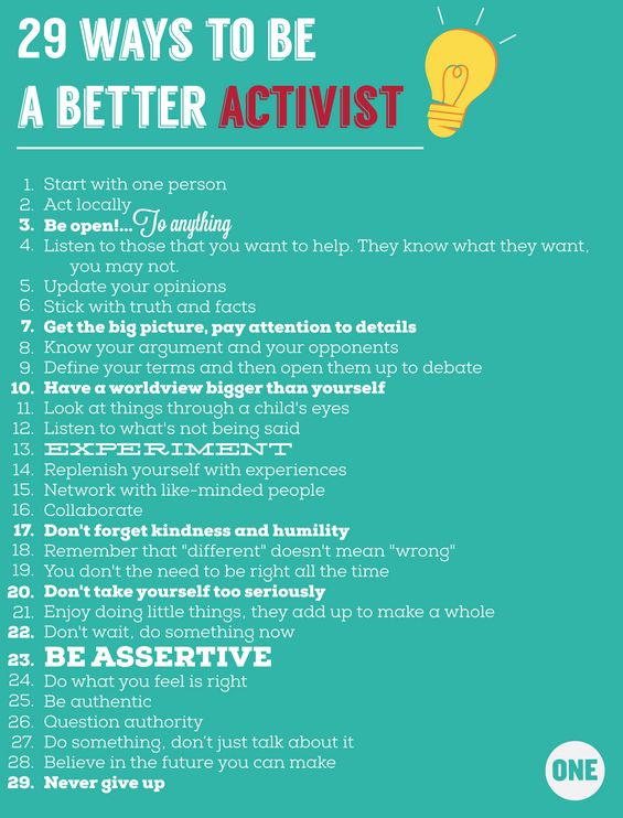 We asked and ONE members delivered! Here are 29 ways to be a better activist.  See how many total responses came in >>  http://www.one.org/us/2013/10/17/infographic-29-ways-to-be-a-better-activist/ #one #activist