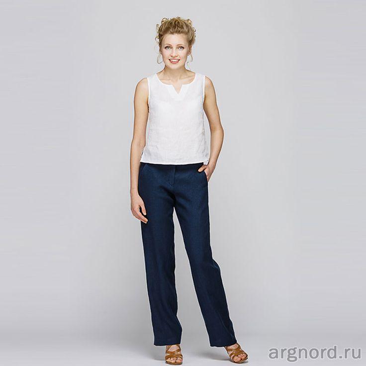 Женские брюки из льна (индиго)  - Арт. М3/43 - Кайрос (рис. 1)