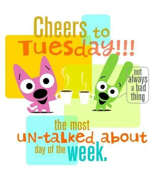 Cheers to Tuesday!!! The most un-talked about day of the week. MORE Cartoon & TV images http://cartoongraphics.blogspot.com/ And on Facebook https://www.facebook.com/dreamontoyz Hallmark's Hoops and Yoyo #Greeting #Quote #Saying