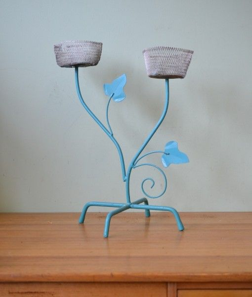 Vintage Metal candle holder or pot plant holder shabby chic french provincial