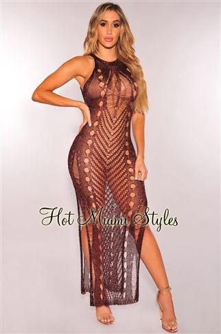 Chocolate Metallic Sleeveless Maxi Dress
