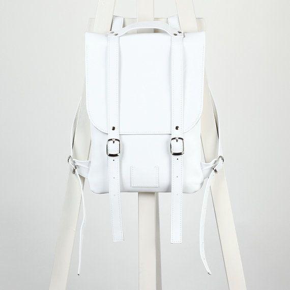 White leather backpack rucksack / To order / White Leather genuine leather minimalist backpackrucksackkokosinasimple backpackknapsackback to school leather rucksack women woman girls gift