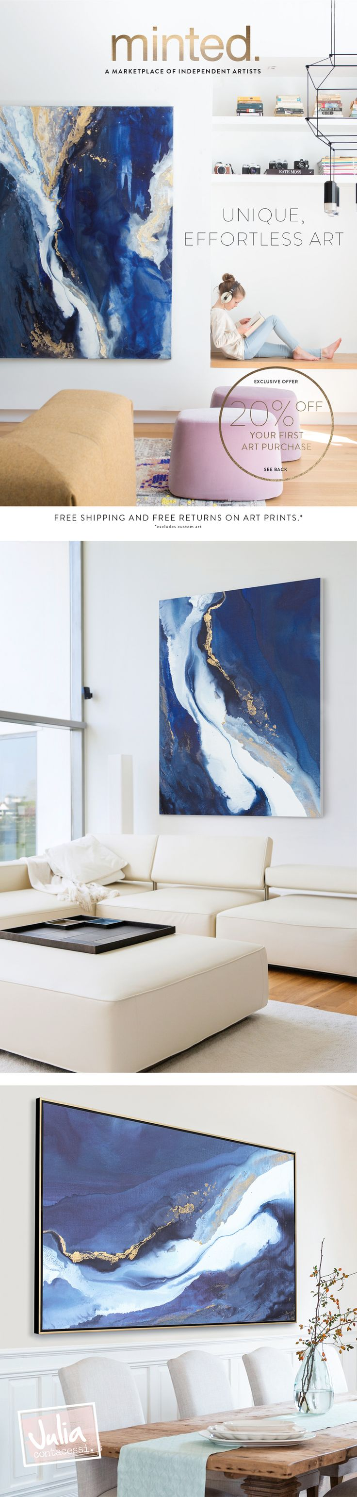 Make a statement! 60x72 original painting Odyssey by Julia Contacessi is featured on the cover of Minted's 2017 Summer Catalogue. Shop for prints of this work at www.JuliaContacessi.com #artwork #abstractart