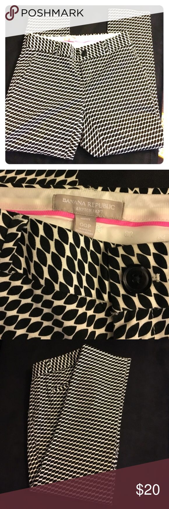 Banana Republic Cropped Hampton pant BR cropped Hampton pant in black and white pattern. So cute and all season! Sized 00P but cut large- wld fit 2reg. Excellent condition- just too big for me Banana Republic Pants Ankle & Cropped